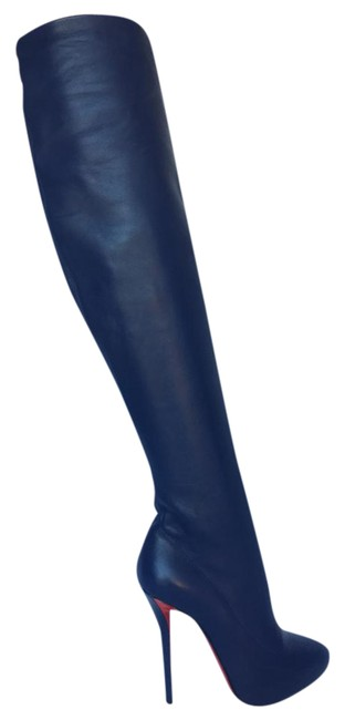 Item - Dark Blue New Sempre Monica Thigh High Knee 120 Heel Lady Toe Red 37 It Leather Boots/Booties Size US 7 Regular (M, B)