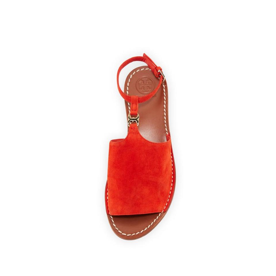 ff4a00b196bc3 Tory Burch Red Orange Gemini Link Suede Ankle Strap Sandals Size US ...