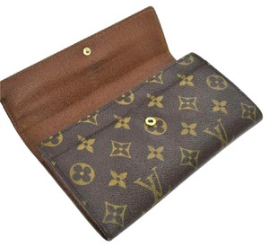 Louis Vuitton Classic Monogram Canvas Long Sarah Wallet PVC Leather