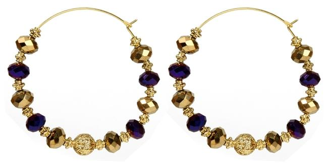 Item - Gold Purple Boho Festival Chick Thin Large Hoops Beads Earrings