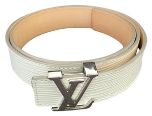 "Louis Vuitton Louis Vuitton ""LV"" Chrome Logo & Epi Leather Belt"