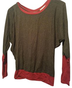 Red Haute Top Grey with burgundy