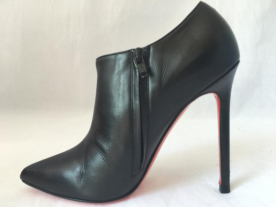 Leather 37 Louboutin Ankle Toe Dahlia High Heel Black Booties It Red Zip Sole Christian Boots Fashion Lady dxpEXwX