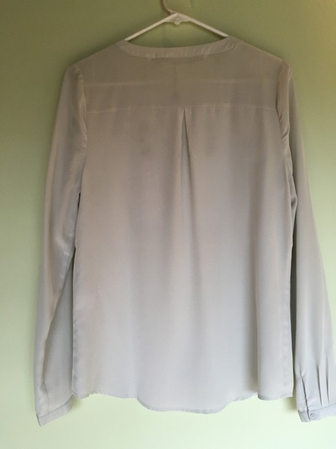 Twelfth St. by Cynthia Vincent Leather Lambskin Silk Top Taupe grey