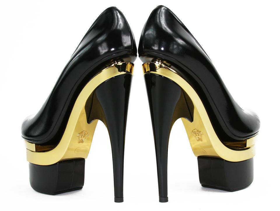 4766e34343464b Versace Black Gold New Triple Leather Pumps Sky High Heels Platforms ...