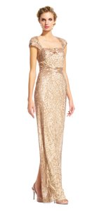 Adrianna Papell Beaded Sequin Formal Gold Rose Gold Dress