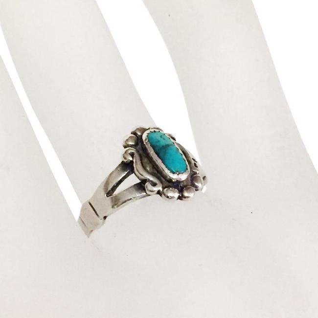 Item - Silver Trading Post Fred Harvey Turquoise Sterling Ring