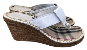 Burberry Espadrilles Sandals House Check White and Black Plaid Wedges