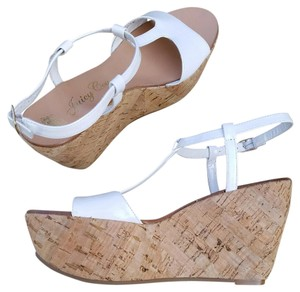 Juicy Couture #juicycouture #cork #wedge #patentleather #summer White Sandals