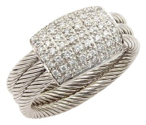 Charriol Flamme Blanche Diamond 18k White Gold Cable Ring