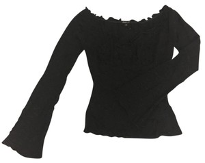 Arden B. Eyelet Fitted Boat Neck Top black