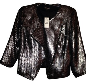 Express Gray/Black Sequin Blazer