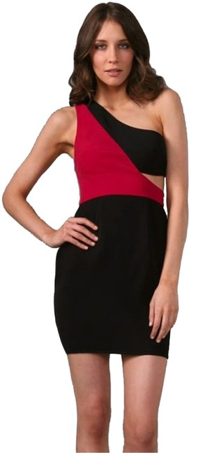 Black Halo Halo Mini Color-blocking Cut-out One One Dress