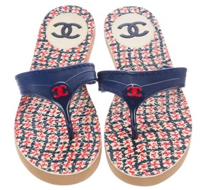 Chanel Interlocking Cc Logo Embellished Print Blue, Red, White Sandals