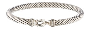 David Yurman Sterling silver David Yurman Cable diamond hook bracelet