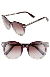 Tom Ford NEW Tom Ford Janina Round Gradient Violet Gradient Oversize Sunglasses