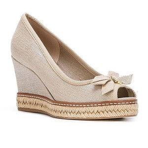 Tory Burch Natural and Silver Wedges