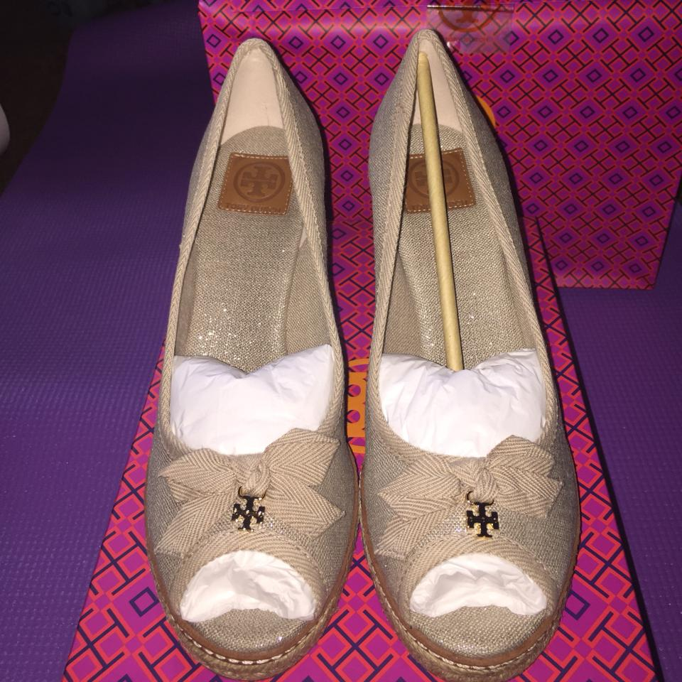 e7cd24b6d5a Tory Burch Natural and Silver Jackie 2 85 Linen Wedges Size US 9 Regular  (M, B) 62% off retail