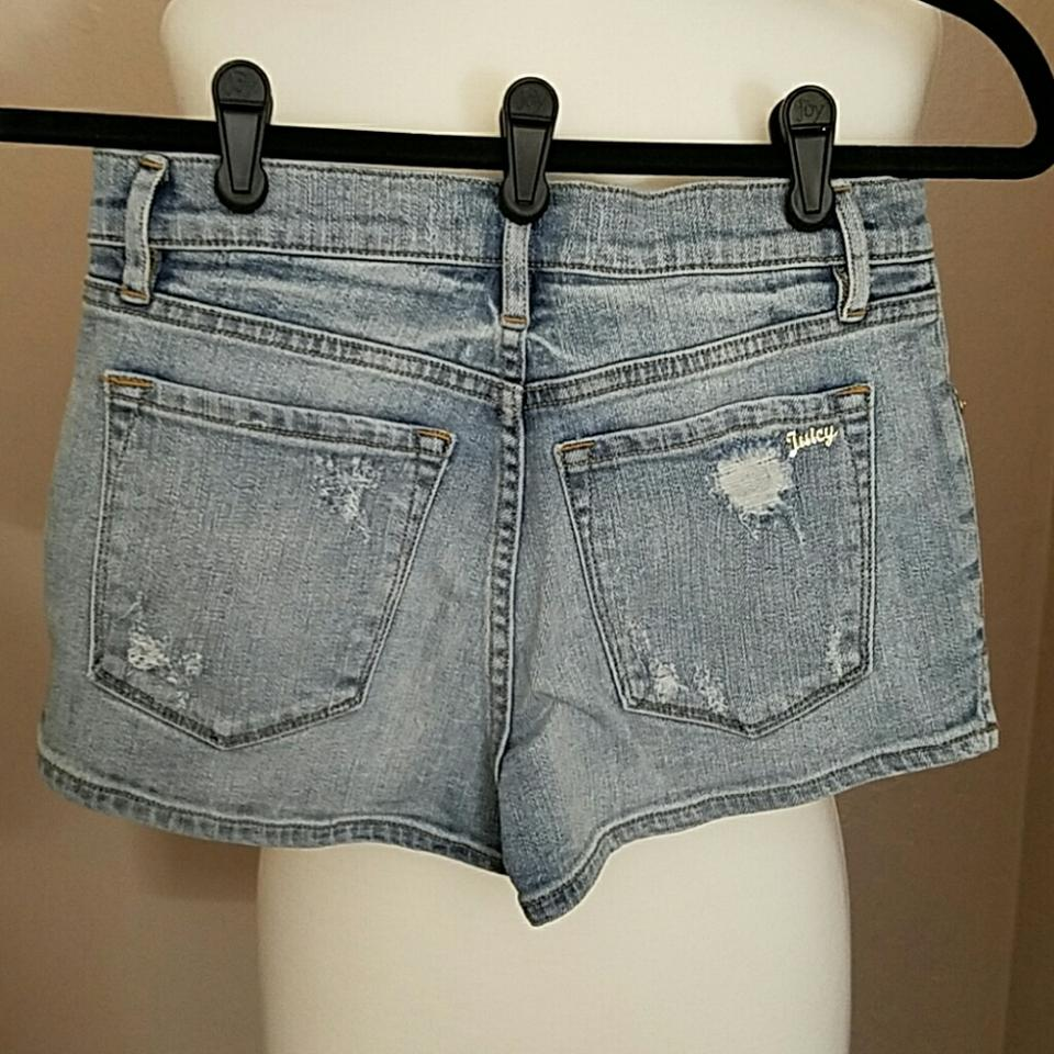 Juicy Couture Stone Wash Blue Leopard Patched Denim Shorts Size 0 ... 1c2177ffb8e