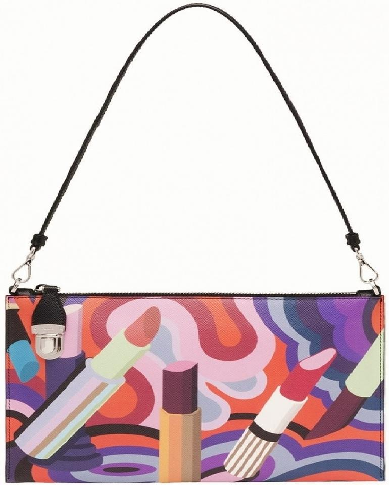 Prada New Lipstick Themed Pochette Clutch Handbag Black Multi Print  Multicolor Leather Shoulder Bag b094bf8fbb74c