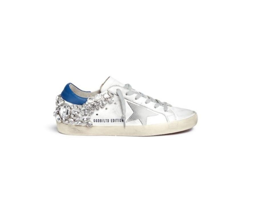 e2031dbf2dbe Golden Goose Deluxe Brand White and Blue Crystal Embellished  superstar   Sneakers Sneakers