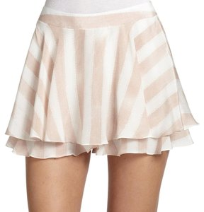 Nanette Lepore Silk Ruffle Mini Summer Mini Skirt Blush / white striped