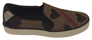 Burberry Brown Black Red Multi Flats