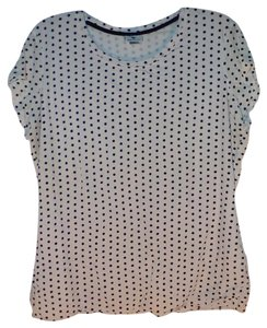 Worthington Polka Dot Fully Lined Casual Top White and Black