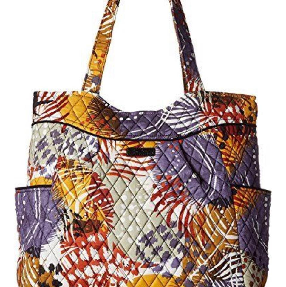 74fe796a7c Vera Bradley Pleated Painted Feathers Quilted Cotton Tote - Tradesy