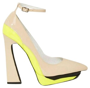 Jeffrey Campbell Yellow and Tan Platforms