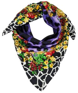 Versace Versace Purple Floral Safari Purple 100% Silk Scarf