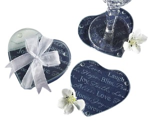 """good Wishes"" Heart-shaped Glass Coasters"