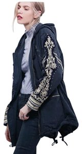 Free People Military Studded Embroidered Hooded Military Jacket