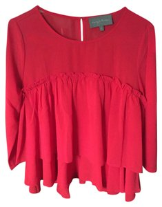 Anthropologie Sheer Top NWT Red