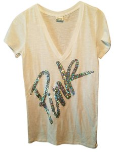 PINK T Shirt White with rainbow/silver sequin