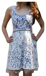 Anthropologie Made In San Francisco short dress Ivory lace with purple fabric beneath on Tradesy