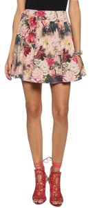 Haute Hippie Pleated Mini Skirt pink floral