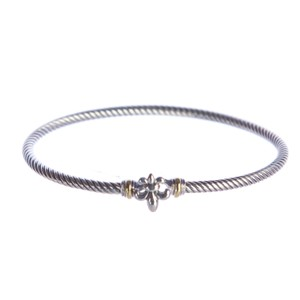 David Yurman Cable Collectibles Fleur-de-Lis Bracelet with Gold 3mm Sz M NWOT