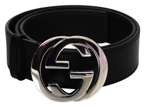 Gucci Gucci Black Leather Logo Belt sz EU85