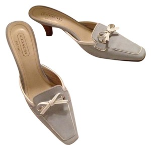 Coach Light Blue and White Mules
