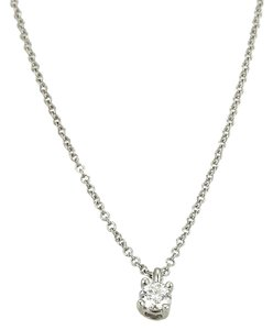 Tiffany & Co. Round Cut Solitaire Diamond Pendant Platinum Necklace