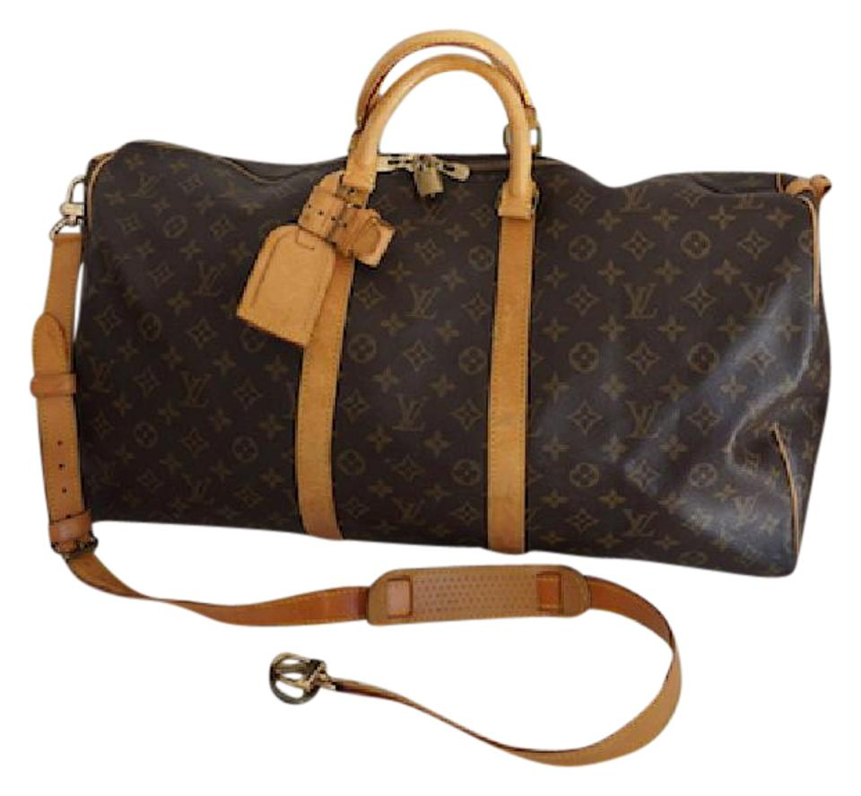 988e1d85ee2e Louis Vuitton Keepall Monogram Bandouliere 55 with S Brown Coated Canvas  Weekend Travel Bag