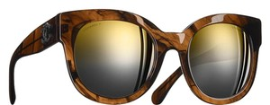 Chanel Honey Butterfly Brown Gold Mirrored Sunglasses 5358 c.1569/Y9