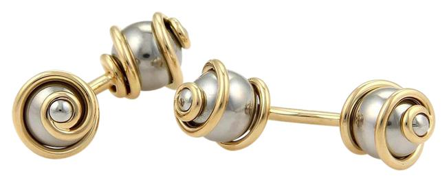 Item - Yellow Gold Stainless Steel W 18k & Swirl Design Double Stud Cufflinks W/Case