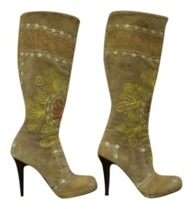 Suzani Turkish Suede Embroidered Tan Boots