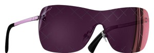 Chanel Purple Iridescent Crosshatch Quilting Shield Sunglasses 4215 c.467/C1