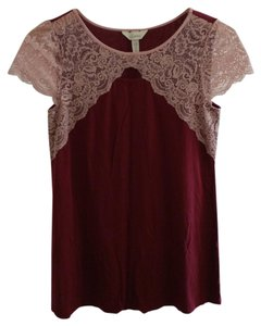 Soma Intimates Cap Sleeve Sleep Top Maroon with Pink Lace