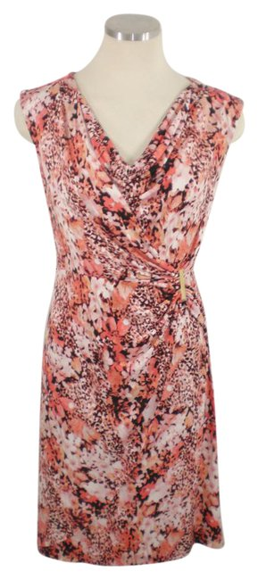 Item - Multi-color Faux Wrap Peach Stretch Mid-length Work/Office Dress Size 2 (XS)