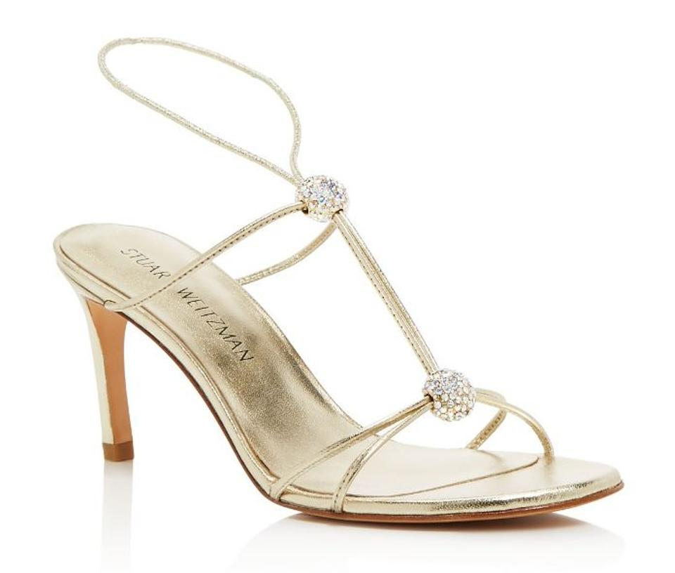 0cd5e149b1c27 Stuart Weitzman Gold Teehee Metallic Leather and Swarovksi Crystal T Strap  Sandals