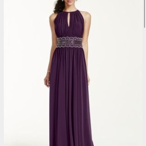 David's Bridal Eggplant Polyester/Spandex Blend Style 1298 Sleveless Keyhole Beaded Waist Jersey Formal Bridesmaid/Mob Dress Size 10 (M)